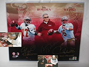 Bobby Bowden, Charlie Ward and Chris Weinke Hand Signed Florida State Seminoles 16 x... by Sports+Memorabilia