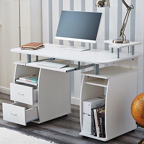 RayGar - Scrivania porta-computer con ripiani e 2 cassetti bianco