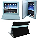 CrazyOnDigital Designed Leather Case for Apple iPad 2, iPad 2G - 16 GB, 32 GB, 64 GB, 3G, Wi-Fi - 2 Tone Black and Blue (iPad2_BlkLthr212_Blue_Scrn_WR)