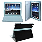 CrazyOnDigital 2-Tone Designer Leather Case Cover with stand and Sleep/Wakeup support for iPad/iPad 2/The New iPad/ HD AT&T Verizon 4G LTE - Black/Blue ~ CrazyOnDigital