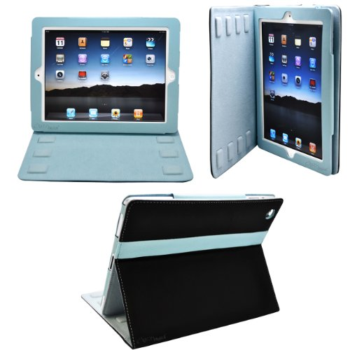 CrazyOnDigital 2-Tone Designer Leather Case Cover with stand and Sleep/Wakeup support for iPad/iPad 2/The New iPad/ HD AT&T Verizon 4G LTE - Black/Blue