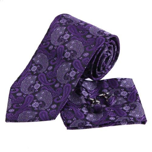 PH1005 Purple Black Paisleys Pattern Silk Tie Handkerchiefs Mens Necktie Cufflinks Set Gift Box Set By Epoint