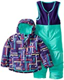 Columbia Kids Frosty Slope Bib and Jacket Set, Hyper Purple Dots Plaid, 4T