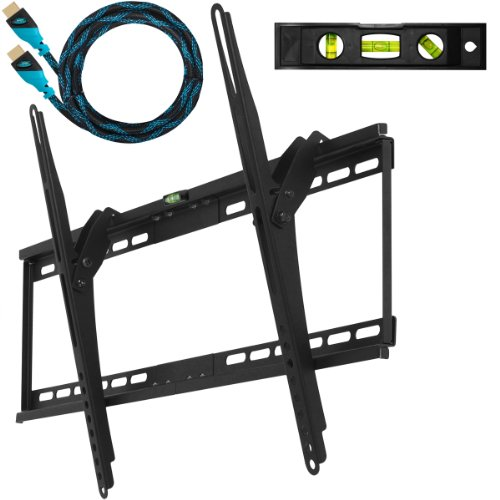 "Cheetah Mounts APTMM2B Flush Tilt Dual Hook (1.3"" from wall) Flat Screen TV Wall Mount Bracket for 32-65 inch Plasma, LED, and LCD TVs Up To VESA 700x400 and 165lbs, Including 10 Braided High Speed with Ethernet HDMI Cable and 3-Axis Magnetic Bubble Level"