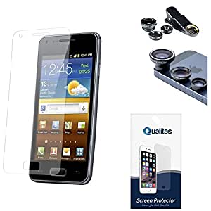 Qualitas Ultra Clear Pack of 12 Anti-Glare Anti-Scratch Anti-Fingerprint Screen Protector for Samsung Galaxy Grand Prime G530H + 3in1 Fisheye Wide Angle and Macro Lens