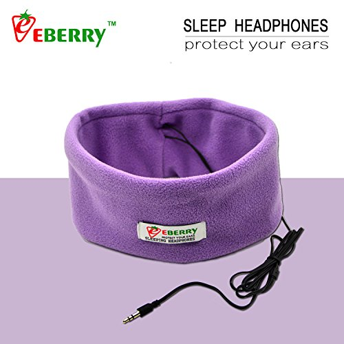 eBerry® SleepPhones Sleeping Headphones Sleep Earphones Headband Phones Bed Headset Run Headband with Earphones Yoga Headsets Workout Headphones 3.5mm Headphone Connector Compatible with MP3 MP4 MID Smart MP3 CD Player Mobile Phones, iPhone 6 Plus 6 5S 5C, iPad 3 4 5, iPad Air 2 1, iPad Mini 2 1 Retina, Samsung Galaxy S6 S5 S4 S3, Galaxy Note 4 3 2, HTC ONE M8, Galaxy Tab TabPro Note 7 8 10.1 12.2, Nokia Lumia, Sony, LG and Motorola Smartphone – Medium: One Size Fits Most (Lavender)
