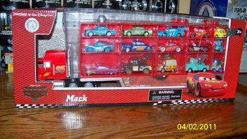 Cheap Discount Disney World of CARS Mack Truck Hauler with 15 Cars Mater Mcqueen Chick Hicks Woody Hudson Hornet Ramone Luigi the King Buzz Guido Dinoco Holds 30 Cars Disney Theme Parks