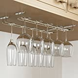 Rack and Hook Stemware Glass Rack  Wine Glass Hanger Under Cabinet Storage for Bar or Kitchen Chrome Finish