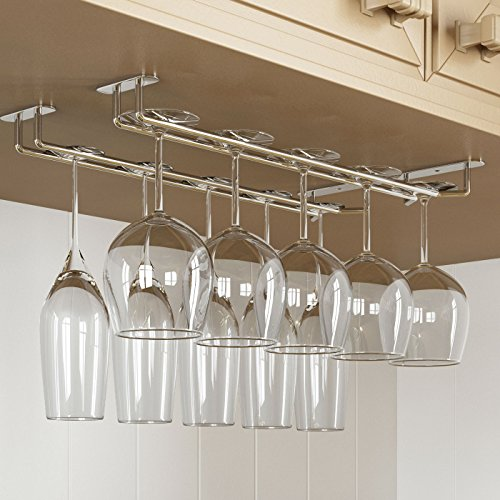Stemware Glass Rack ,Chrome Finish Wine Glass Hanger Under Cabinet Storage for Bar or Kitchen by Rack and Hook (Wine Rack Hanger compare prices)