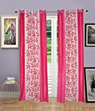 Grafion Pink Floral Polyester Eyelet Door Curtains -Set of 4 Curtains