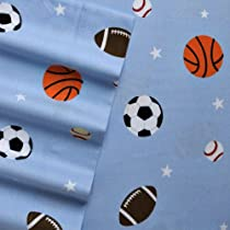 Home Classics Queen Size Heavyweight 5 oz (170-gram) 4 Piece Flannel Sheet Set with Deep Pockets Blue Sports