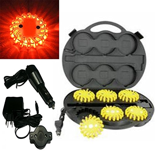 6 Pack Amber Rechargable Waterproof Led Magnet Safety Flare With 9 Operating Modes + Free Chargers And Travel Case