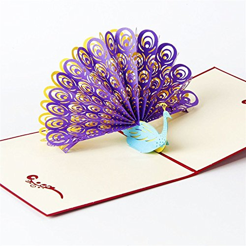 3D Pop Up Handmade Cards Creative Greeting Cards Papercraft ( Peacock Greeting Card with Purple Flaunting Tail ) (Peacock Wedding Programs compare prices)