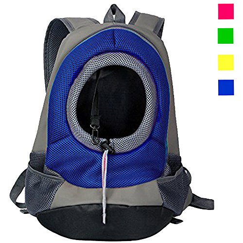 Dog Carrier, YAMAY Pet Cat Carrier Backpack Front Pack Nylon Mesh for Small Medium Cats Dogs Zipper Travel Bag Lightweight Hands Free Padded Shoulder Strap for Bike Bicycle Car Hiking