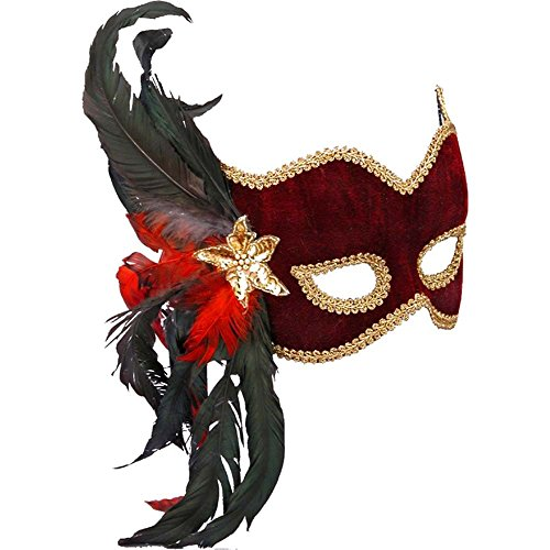 Ladies Burgundy Mardi Gras Feather Mask