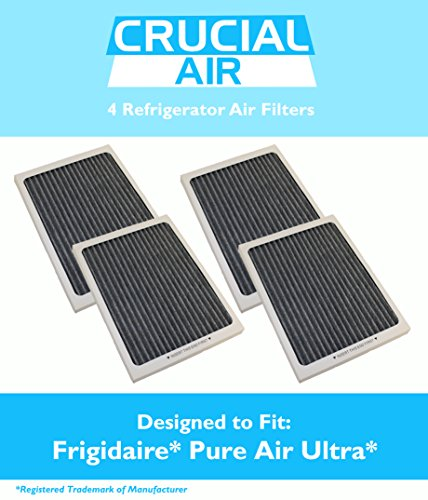 4 Frigidaire Pure Air Ultra Refrigerator Air Filters, Also Fits Electrolux Compare to Part # EAFCBF PAULTRA 242061001 241754001, Designed & Engineered by Crucial Air