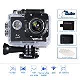 Vemico 4K Action Camera 16MP WIFI 2.0 Inch Screen Waterproof Sports Helmet Cam with Extra 1050 mAh Battery (Black)
