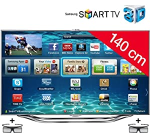 SAMSUNG UE55ES8000 3D LED Smart TV HD TV 1080p, 55 inches (140cm) 16/9, 800Hz, Freeview, 3D Ready, Ethernet, HDMI x3, USB 2.0 x3, Integrated WiFi