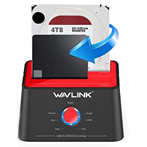 WAVLINK USB 3.0 to SATA Dual-Bay External Hard Drive Docking Station with UASP for 2.5/3.5-inch HDD SSD, Hard Drive Duplicator Offline Clone Function (2 x 10TB Support) (Color: ST334U)