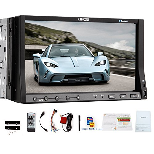 EinCar GPS Navi Capacitive Touch Screen In Dash Head Unit Car Stereo Video PC System Car DVD Player Autoradio FM AM Radio Receiver SD USB Audio 2 Din Bluetooth Aux win 8 iPod media 3D 8GB Map