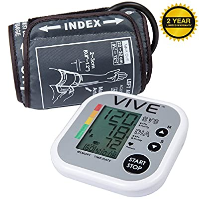 Blood Pressure Monitor by VIVE - Best Automatic Digital Upper Arm Cuff - Most Accurate, Portable & Perfect for Home Use - One Size Fits All Cuff - 2 Year Warranty
