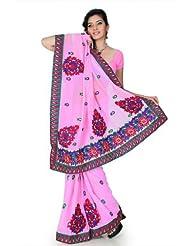 Designersareez Women Chiffon Embroidered Pink Saree With Unstitched Blouse(1206)
