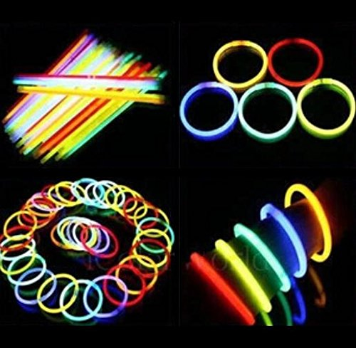 "Liroyal Pack Of 50 8"" Glow Stick Bracelets Mixed Colors"