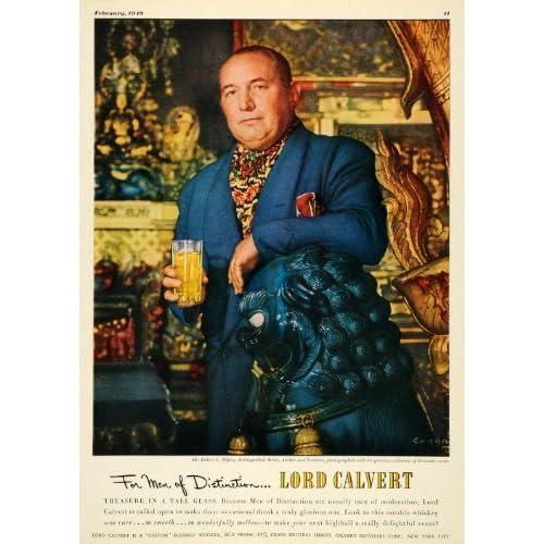 1949 Ad Robert L Ripley Author Lord Calvert Whiskey   Original Print