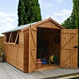 10ft x 6ft Shiplap Apex Wooden Storage Shed - Premier Groundsman - Brand 10x6 New Double Door Full Tongue and Groove Sheds