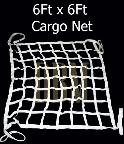 White 6' x 6' Heavy Duty Cargo Net Netting Strap Nylon Web Tie Down Truck Bed (Cargo Strap Net compare prices)