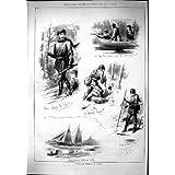 Impresión Antigua del Pato Salvaje 1879 Que Tira la Isla de los Diablos del Barco de Río de Maderas de Canadá