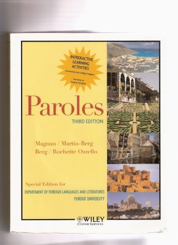 Paroles (Special Edition for Department of Foreign Languages and Literatures Purdue University)