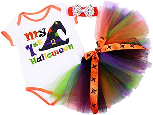 CAKYE® Baby Girls' My First Halloween Tutu Set, Onesie, Tutu Dress Headband 3PCs