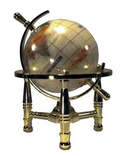 Imagen de Arte Único de 6 pulgadas de altura Remolino Perla del Océano Mini Table Top piedras preciosas Mundial Globo de Oro con trípode