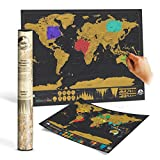 Twitfish® Scratch World Map - Scratch off as you go along! ** Black Vintage Edition **