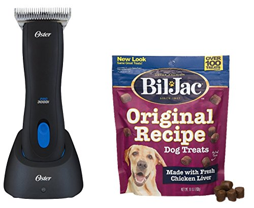 Oster Pro 3000i Cordless Clipper with Size 10 Wide Blade - Includes Bil-Jac Original Recipe Dog Treats 10oz (Oster Cordless Dog Clippers compare prices)