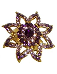 Faux Amethyst Adjustable Ring - Stone And Metal