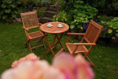 3tlg. Set, 2 Klappsessel, 1 Klapptisch/Beistelltisch rund Ø 65 cm, FSC Eukalyptus Holz geölt