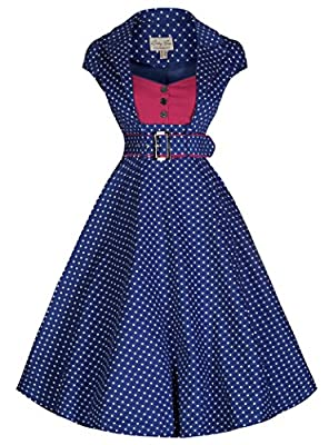 Lindy Bop 'Geneva' Contrasting Polka Dot Tailored 50's Rockabilly Dress