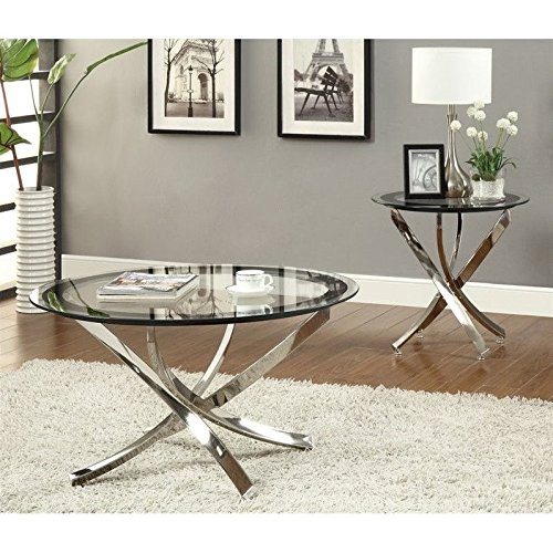 Coaster Home Furnishings 702587 Contemporary End Table, Chrome (Chrome End Table compare prices)