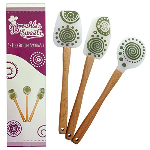 Boochie's Sweets 3-Piece Silicone Spatula Set with Beechwood Handles (Silicone Spatula Set Wood compare prices)