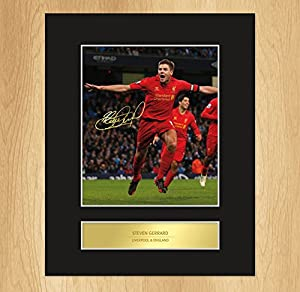 Steven Gerrard Liverpool Celebration Signed Mounted Photo Display