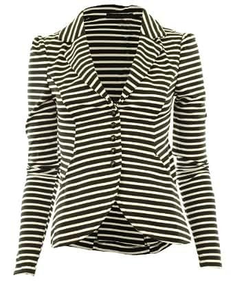 White-Black UK 10 - Mardela New Womens 5 Button Front Ponte Bold Shoulder Ladies Blazer Jacket Coat