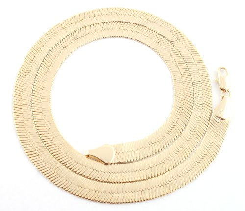 Gold 7mm 20 Inch Herringbone Chain Necklace