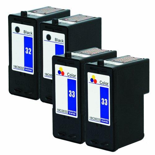 Focus Brand Remanufactured Lexmark 32/33 Tintenpatronen 4-Pack: 2x schwarze/2x farbig Tintenpatrone