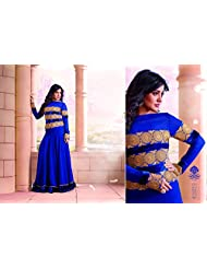 Stylish Fashion Neha Sharma Gorgeous Blue Neck Embroiderd Semi Stitched Long Anarkali Suit