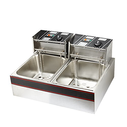Flexzion Dual Tank Deep Fryer 5000W 12L Liter Electric Countertop Double Basket Stainless Steel for Commercial Restaurant Kitchen Built in Timers & Adjustable Temperature (Replacement Plug For Deep Fryer compare prices)