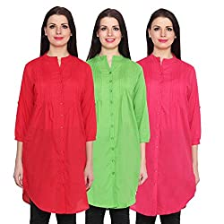 NumBrave Red, Green & Darkpink Long Cotton Top (Pack of 3)