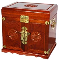 Big Sale Oriental Furniture Most Beautiful Elegant Mother Day Gift Idea for Her, 12-Inch Qing Large Jewelry Box with 4 Drawers and Shou Symbol, Honey