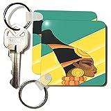 kc_109945 Florene Art Deco and Nouveau - Digital Painting Of African Art Deco - Key Chains